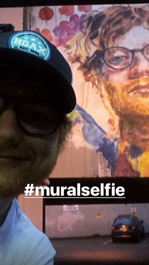Ed Sheeran's selfie in front of the Bath Street mural - a photo that will go down in history as the most ginger photo ever to be taken.