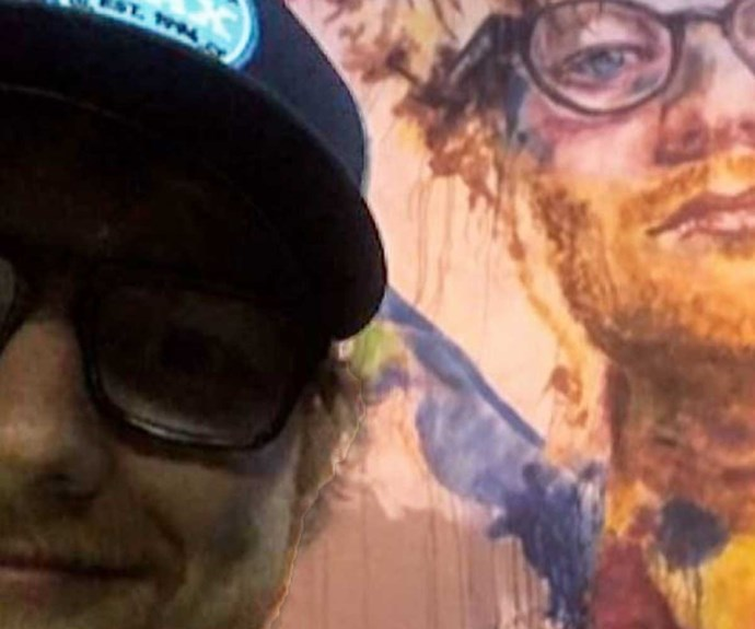 Ed Sheeran takes selfie with mural of own face