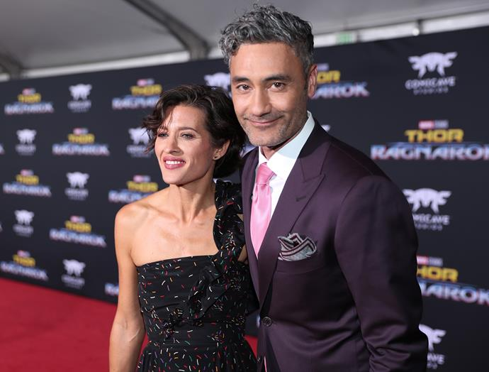Taika and wife Chelsea at the *Thor: Ragnarok* premiere in Hollywood.