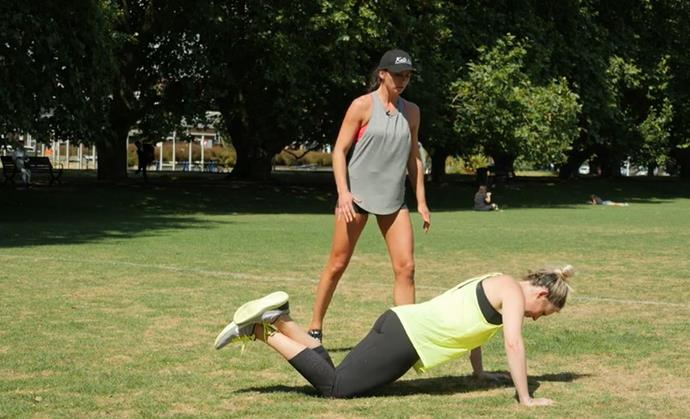 Half press-ups are a quick and easy (okay, maybe not easy) way to build upper body strength.