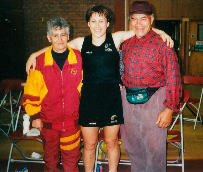 With her parents Paddy and Waka in the early 2000s.