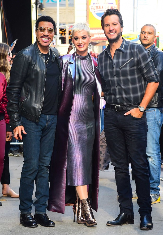 Lionel with fellow American Idol judges Katy Perry and Luke Bryan.