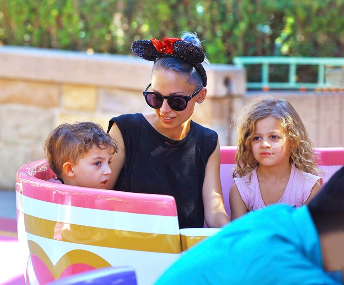 It seems marriage and motherhood have helped calm former reality TV rebel Nicole, seen with kids Sparrow (left) and Harlow.