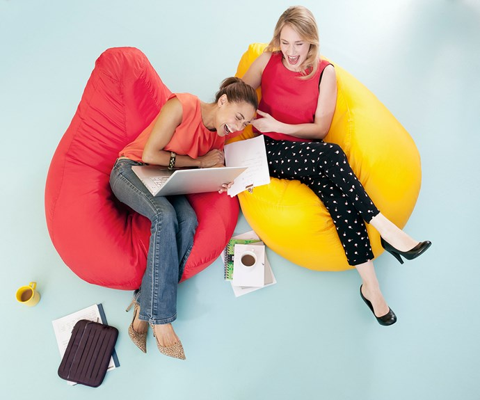 An artistic impression of us laughing in the office. We don't have any beanbags. Boss, can we get some beanbags?