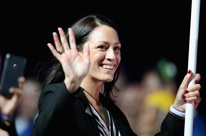 New Zealand flagbearer Sophie Pascoe.