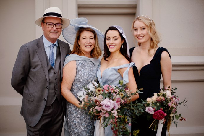 The elegant bride with (from left) dad Danny, mum Susan and sister Megan.