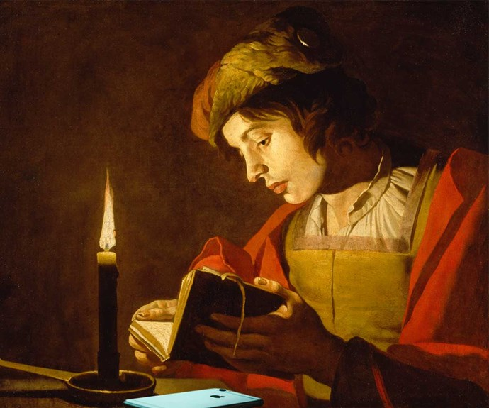 A Young Man Reading by Candlelight, c.1630 plus IPhone Photoshopped in by author