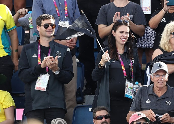 Jacinda Ardern and Clarke Gayford at the Commonwealth Games.