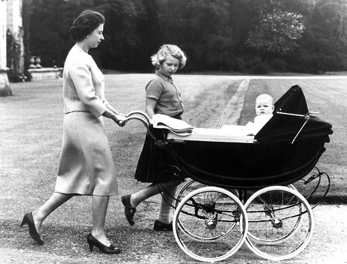 The Queen steps out with a young Princess Anne and Prince Andrew in 1960