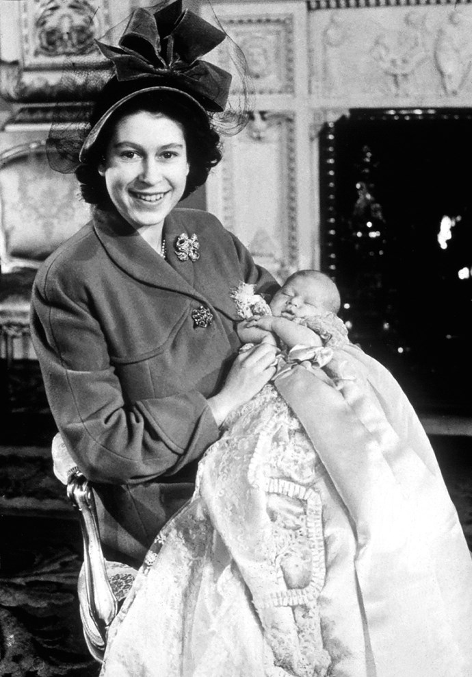 Princess Elizabeth with Prince Charles at his christening in 1948