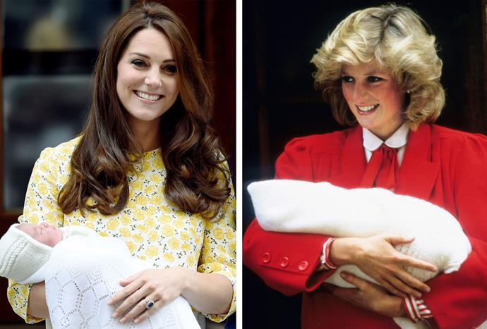 Kate leaves hospital after Charlotte's birth; Diana, Princess of Wales, with newborn Harry in 1984