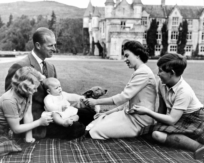 The Queen, Prince Philip, their three eldest children, and a royal corgi, in 1960