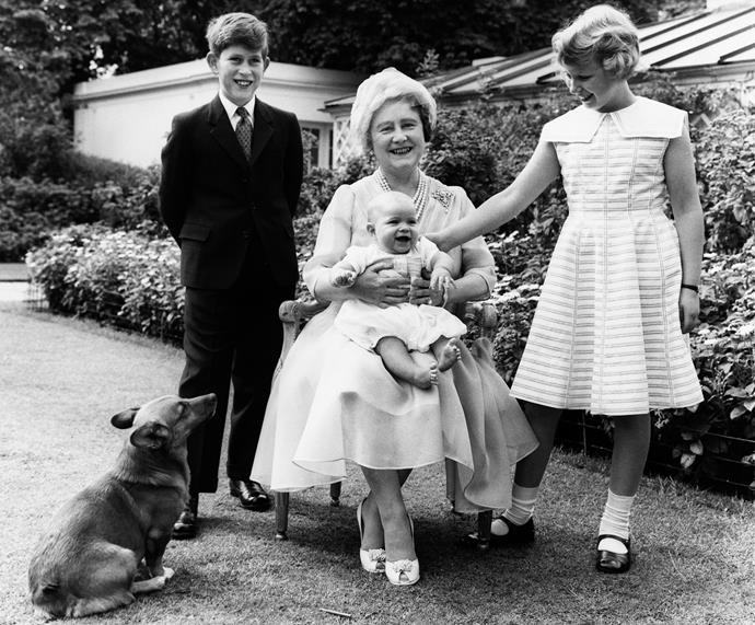 The Queen Mother, Prince Charles, Princess Anne, and baby Andrew in 1960