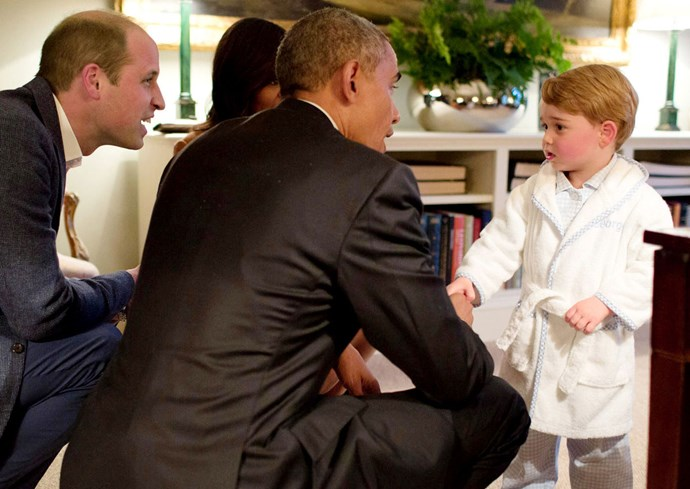 Young George meets President Obama