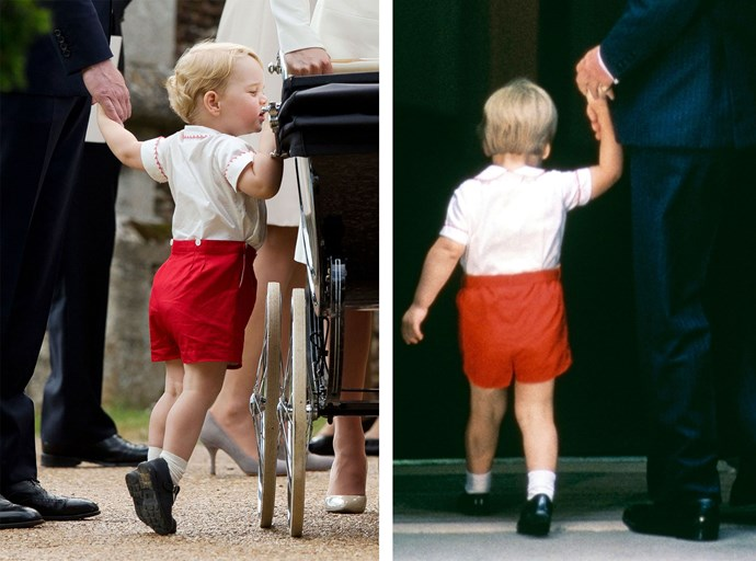 Two decades on, George wears a similar outfit to William