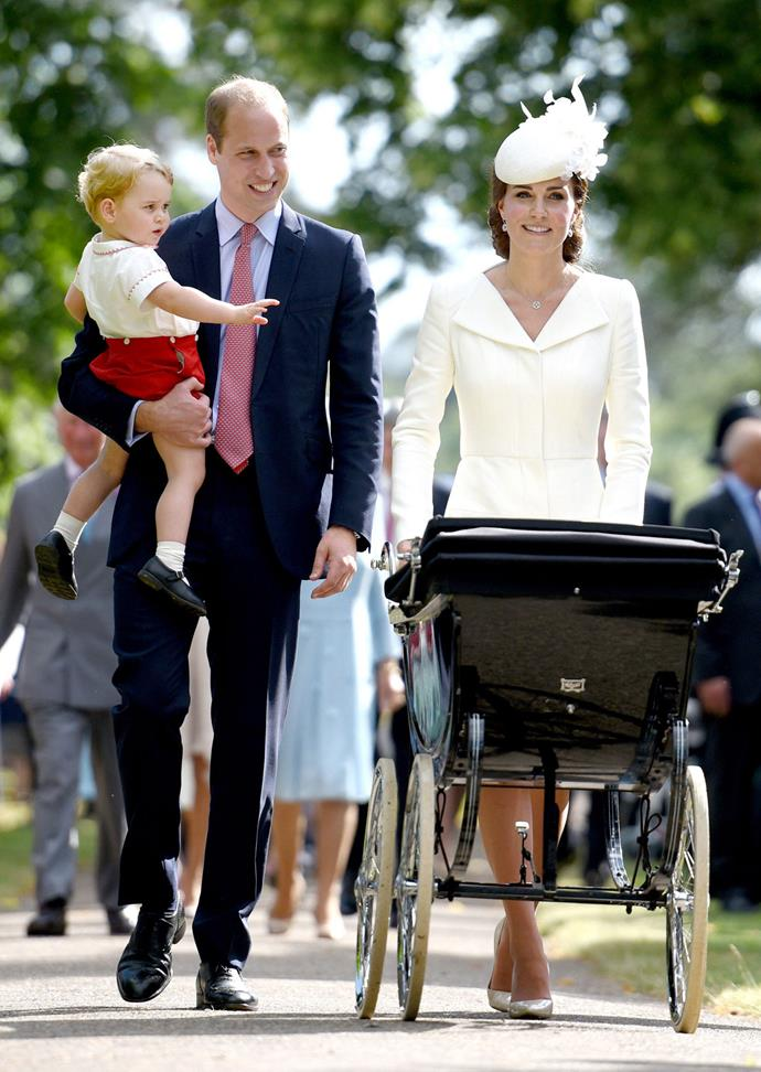 Kate uses the traditional royal pram at Charlotte's christening