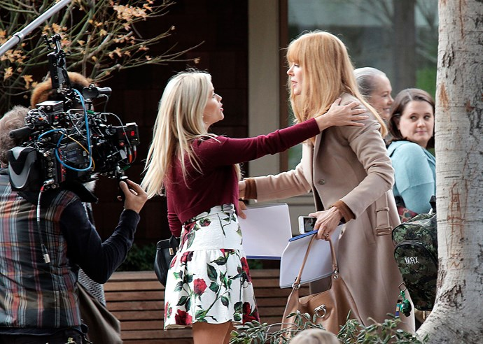 Reese Witherspoon and Nicole filming a scene in Big Little Lies