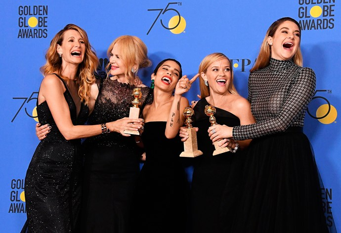 Laura Dern, Nicole, Zoe Kravitz, Reese and Shailene Woodley celebrate their Golden Globes win