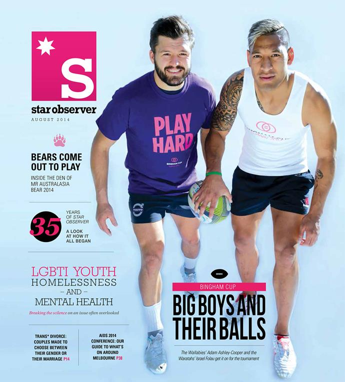 Israel Folau appears on the cover of LGBT magazine the *Star Observer*.