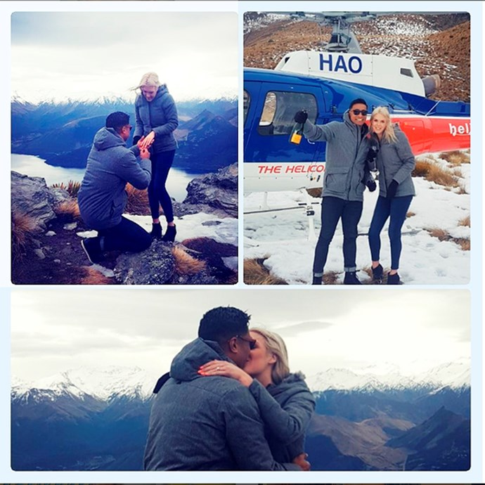 Pua popping the question to Lizz in Queenstown.