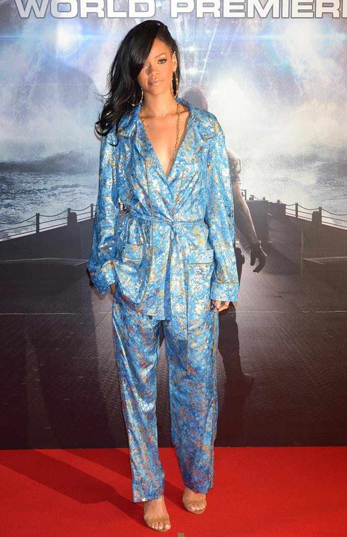 Rihanna attending the *Battleship* Japan Premiere in pyjamas.