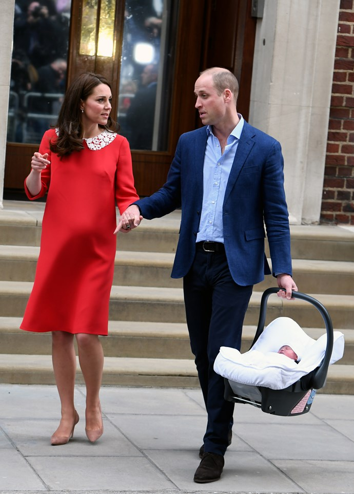 Prince William and Catherine, Duchess of Cambridge leave Lindo Wing with their third baby.
