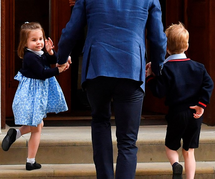 Prince William takes Princess Charlotte and Prince George to meet their new baby brother at Lindo Wing.
