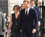 Prince Harry and Meghan Markle make their first appearance since the new royal baby's birth