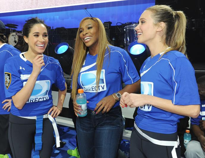 Meghan Markle, Serena Williams and Hannah Davis participating in the DirecTV Beach Bowl at Pier 40 in 2014.