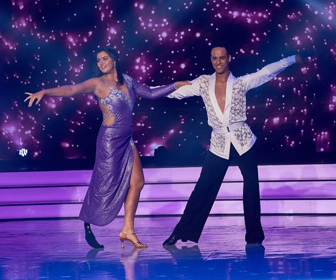 Jess performing in Dancing With The Stars with partner Jonny Williams. The pair have taken an early lead on the show.