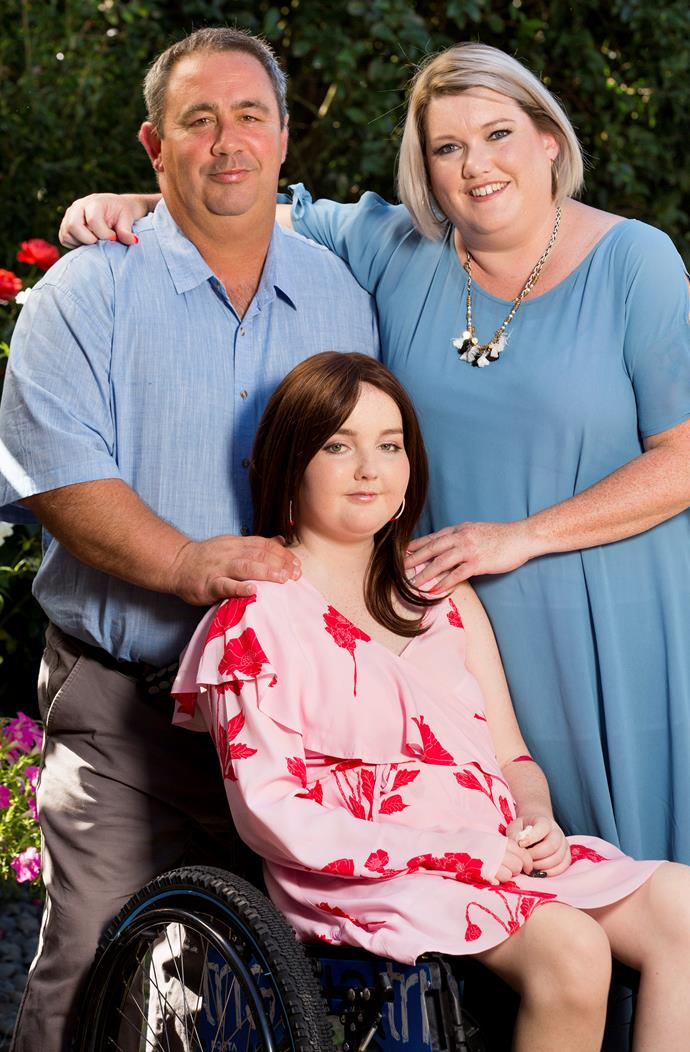 """""""I just want to do as much as I can with my family,"""" says Aneleise, with dad Nick and Mum Erika."""