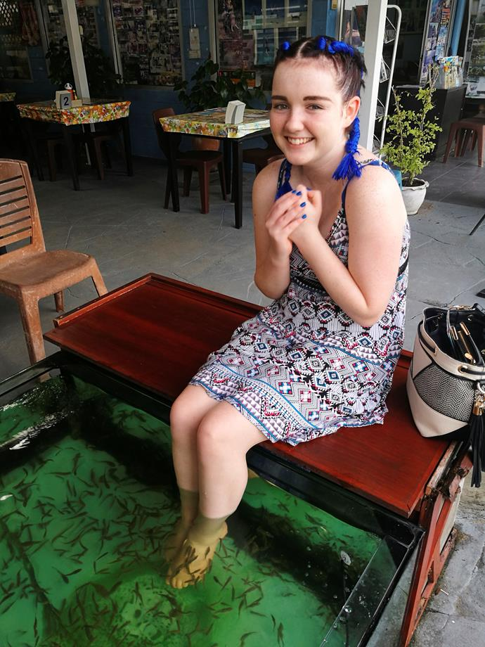 Aneliese at a fish foot spa in Thailand