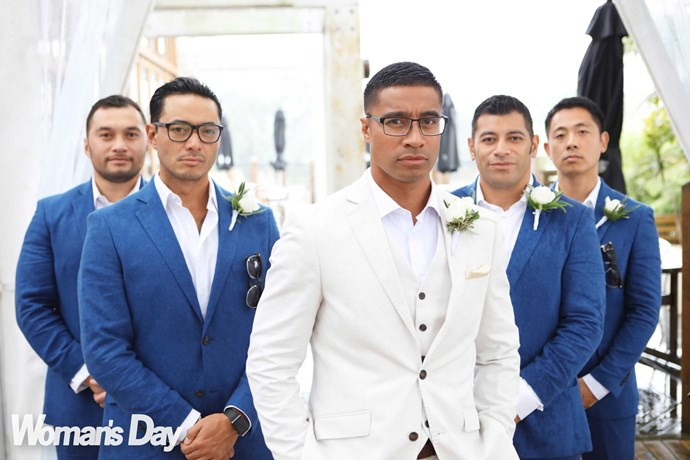 """Pua with his groomsmen (from left) best man Fa'atonu, Flava co-star Sela, and longtime friends Effron Heather and Jeongmon Park.  """"This is our boy-band pose!"""" says Pua."""