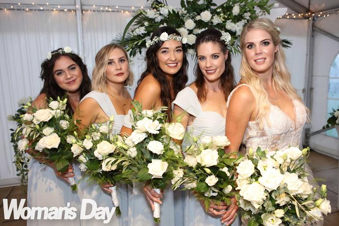 The bride with (from left) Pua's sister Trina, friends Hayley Williams and Ariki Fotheringhame, and Lizz's sister Virginia Peek.