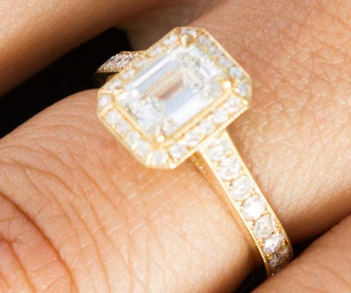 "Encrusted with 60 diamonds, Melissa says her ring is ""absolutely perfect."""