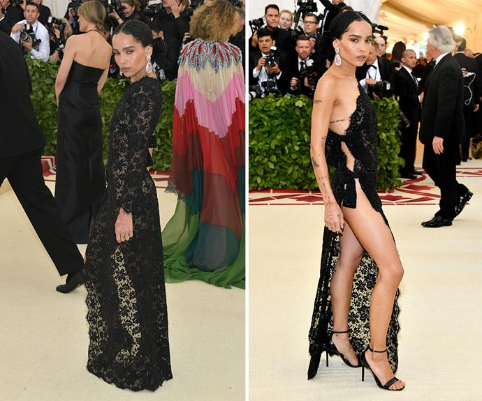 *Big Little Lies* star Zoe Kravitz slipped into a daring sheer lace number for the evening.