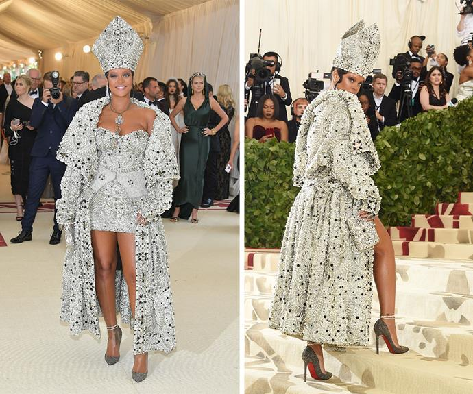 Rihanna took inspiration from Pope Francis for this impressive look.
