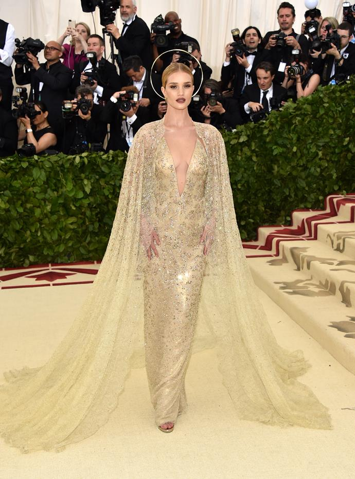 Model and actress Rosie Huntington-Whiteley looking like a golden angel.