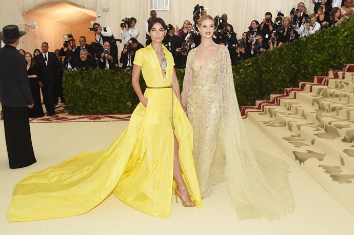 Fellow model Lily Aldridge rocks a bright yellow ensemble.