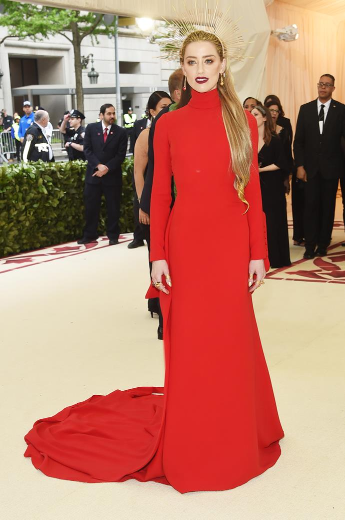 Another who got the red memo was Amber Heard.