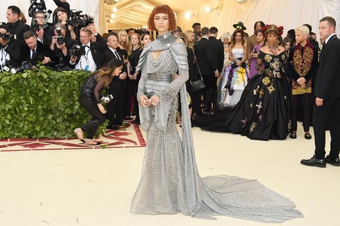 Zendaya rocks this silver ensemble.