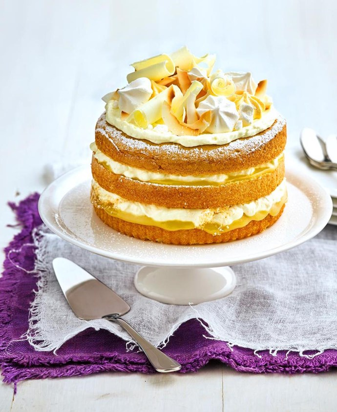 Cheat's lemon and elderflower buttercream cake.