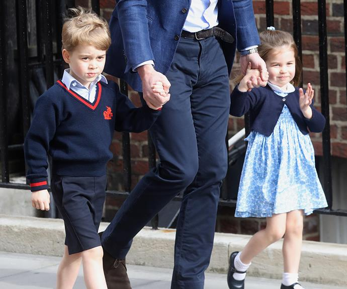 Prince George and Princess Charlotte heading into the Lindo Wing to meet their new baby brother, Prince Louis, for the first time.