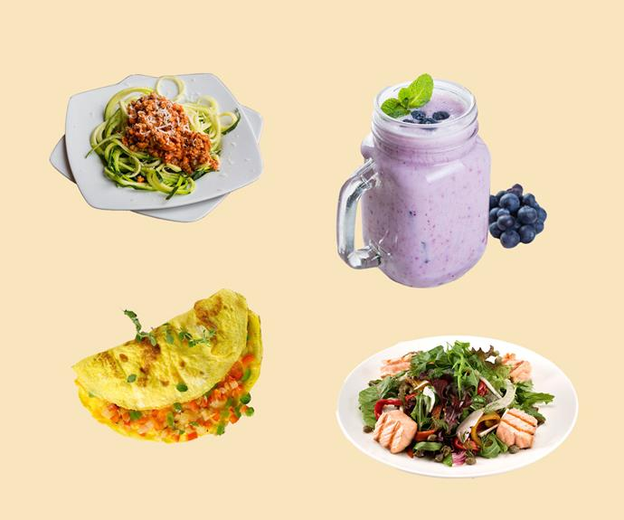 The delicious meals on Meghan's menu: zucchini pasta, smoothies, omelette and salmon salad.