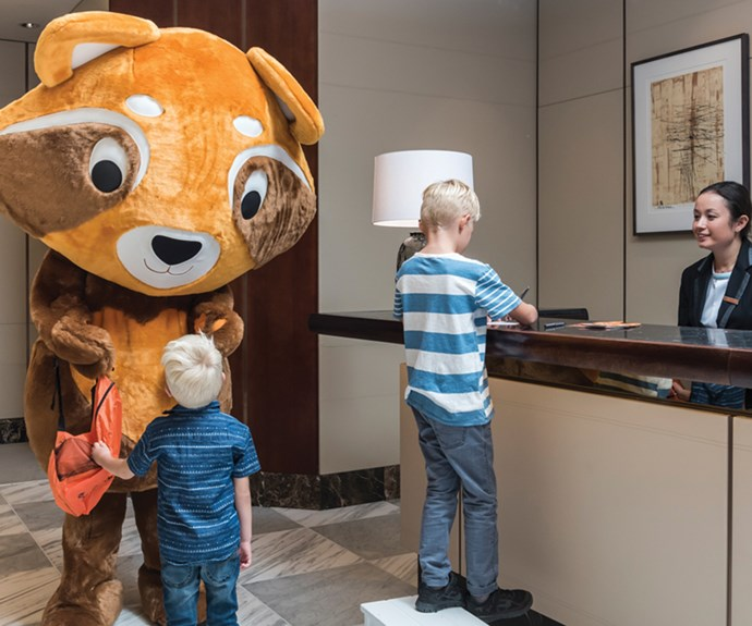 Check-in at Cordis Auckland is made fun for the kids with Cody the Red Panda