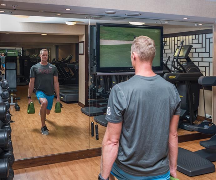 Steven Ferguson making use of the Cordis gym