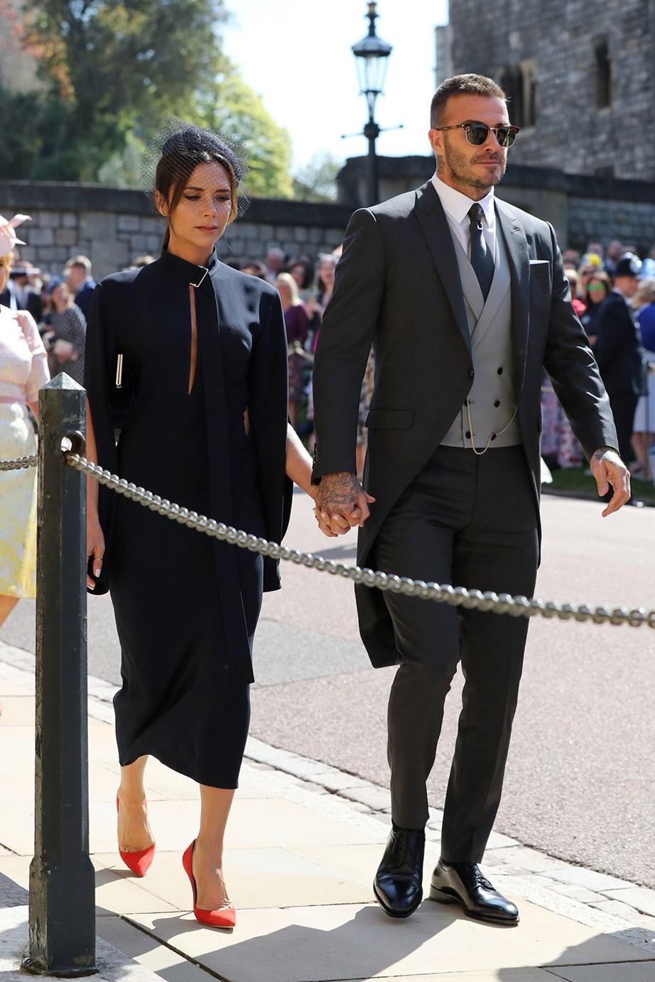 David and Victoria Beckham at the royal wedding.