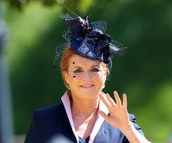 Sarah, Duchess of York arrives at St George's Chapel at Windsor Castle.