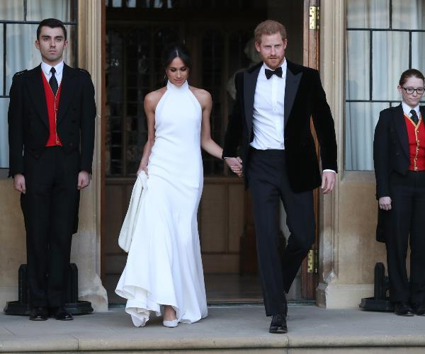 Harry, 33, and Meghan, 36, both changed into something a little bit more party-appropriate ahead of an evening reception held at Frogmore House.