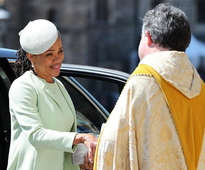 Doria Ragland arrives at St George's Chapel at Windsor Castle before her daughter's wedding.